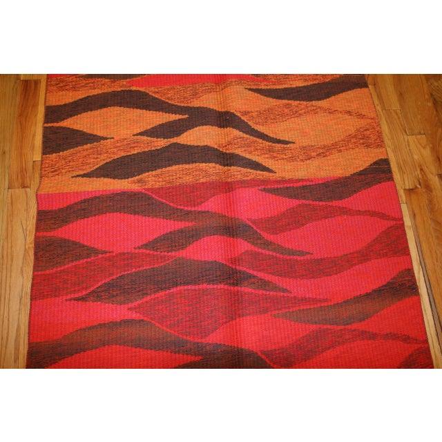 Textile Vintage Double-Sided Swedish Kilim Carpet For Sale - Image 7 of 10