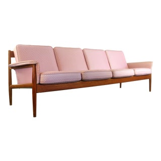 8 Ft. Long Grete Jalk for France and Son Four Seat Sofa, Denmark For Sale