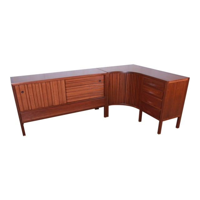 1950s Edward Wormley for Dunbar Curved Two-Piece Corner Credenza For Sale