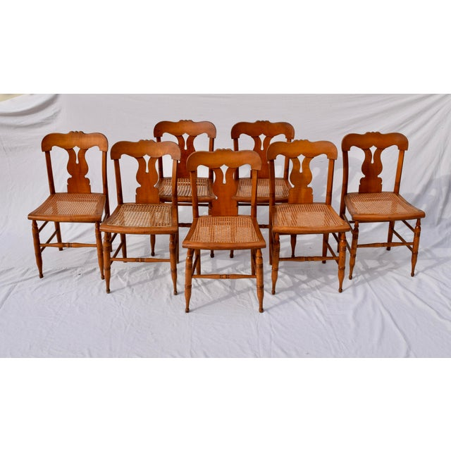 Antique Caned Federal Dining Chairs, Set of Eight For Sale - Image 10 of 10