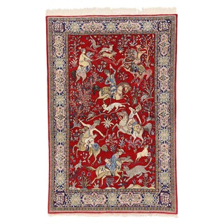 20th Century Persian Qum Rug With Pictorial Hunting Scene - 4′7″ × 7′1″ For Sale