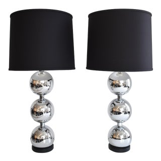 Mid-Century Chrome Stacked Orb Lamp - A Pair
