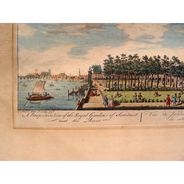 """A Perspective View of the Royal Garden of Somerset Next the River,"" also titled in French, by J. Maurer. Published..."