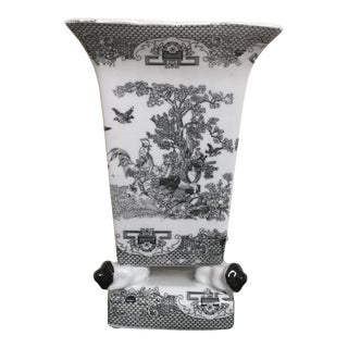 Black and White Chinoiserie Porcelain Cachepot Planter Flower Pot For Sale