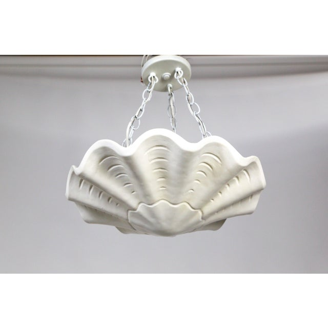 White Vintage Casella Undulating Shell Pendant Light For Sale - Image 10 of 10