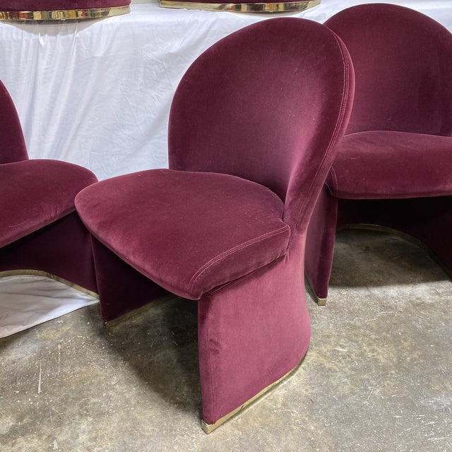 Contemporary Velvet & Brass Dining Chairs - Set/6 For Sale - Image 11 of 12