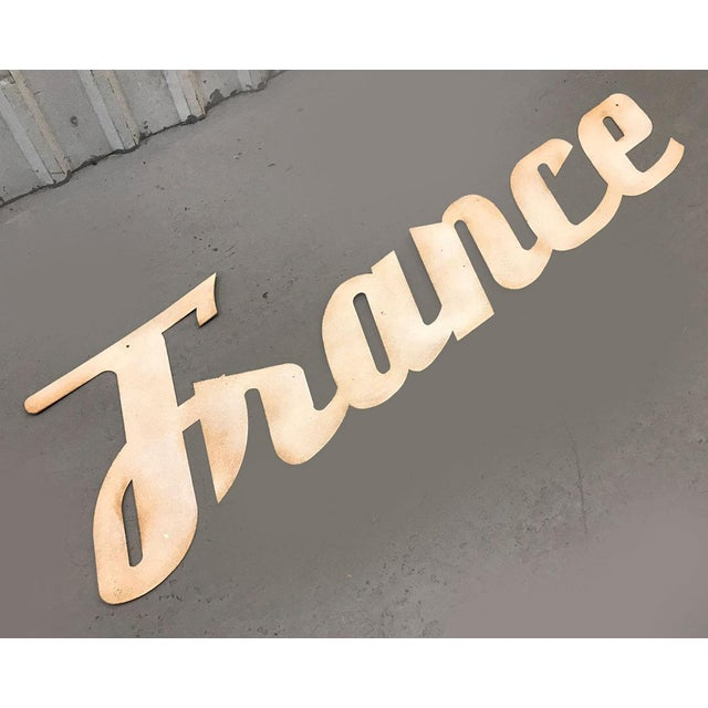 """Mid-Century Modern Mid-Century Modern """"France"""" Signage From Travel Agency For Sale - Image 3 of 9"""