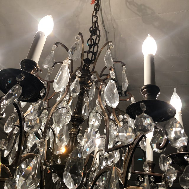 1930s Vintage Fabulous Lead Crystal 8 Light Chandelier For Sale - Image 10 of 12