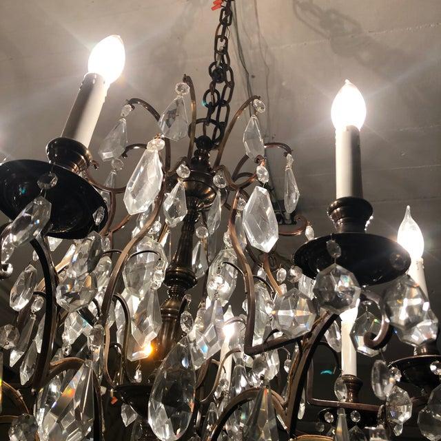 1930s Vintage Lead Crystal 8 Light Chandelier For Sale - Image 10 of 12
