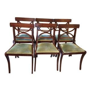 French Green Velvet & Walnut Chairs - Set of 6