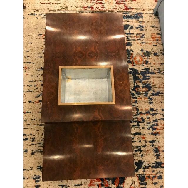 Wood Three Tiered Burlwood Coffee Table For Sale - Image 7 of 8