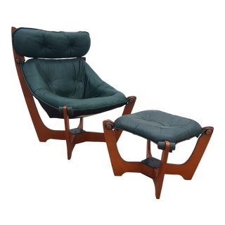 "1970s Vintage Odd Knutsen Green Aniline Leather Teak ""Luna"" Chair & Ottoman For Sale"