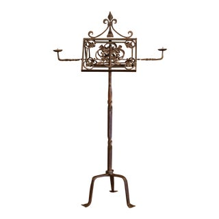 19th Century French Two-Side Forged Iron Music Stand Lectern With Fleur-De-Lys