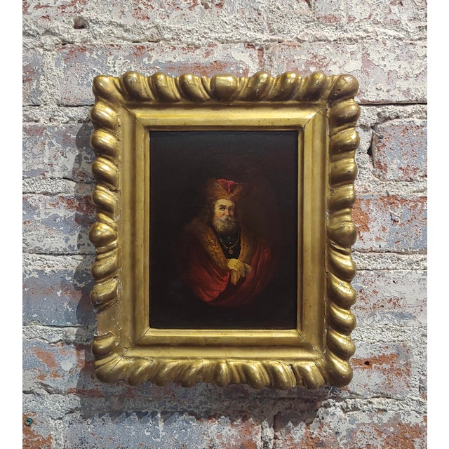 Black Portrait of a Monarch -18th Century Flemish Oil Painting For Sale - Image 8 of 8