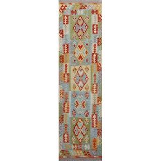 Modern Pakistani Colorful Handwoven Wool Reversible Kilim Rug- 2′6″ × 9′9″ For Sale