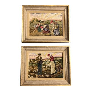 Gallery Wall Collection 2 Vintage Hand Done Needlepoints After Artist Millet 1960's For Sale