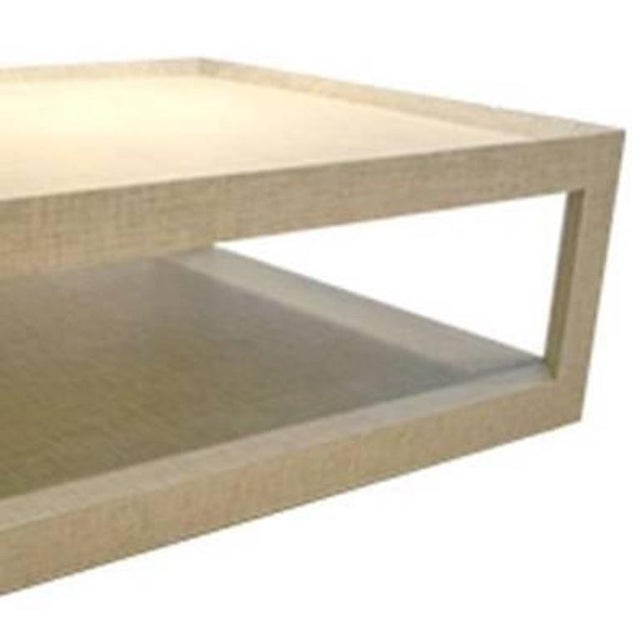 Contemporary Schumacher Quotidian Mitsu Weave Pearl Color Fabric-Wrapped Cocktail Table For Sale - Image 3 of 5