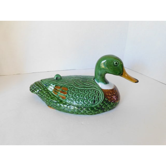 French Country Vintage Green Majolica Mallard Duck Covered Condiment Dishes- Set of 3 For Sale - Image 3 of 13