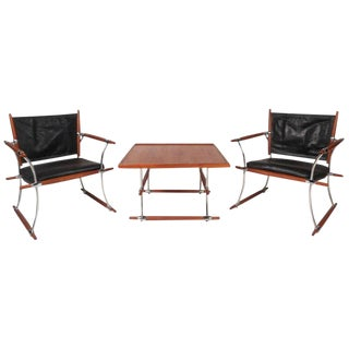 "Vintage Modern ""Stokke"" Jens Quistgaard Lounge Chairs & Table - Set of 3 For Sale"