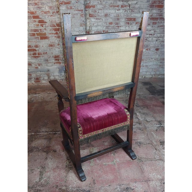 Red Spanish Revival Antique High Back Chairs W/Red Velvet Upholstery - a  Pair For - Sophisticated Spanish Revival Antique High Back Chairs W/Red Velvet