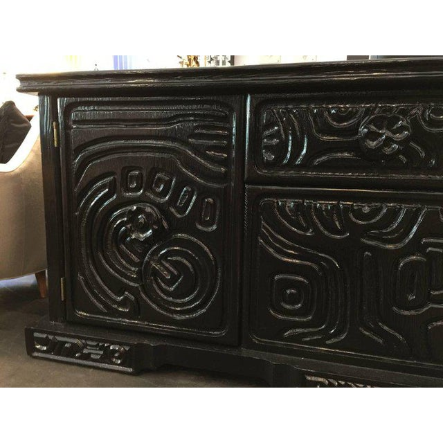 Witco Brutalist Carved Wood Lacquered Credenza by Witco For Sale - Image 4 of 6