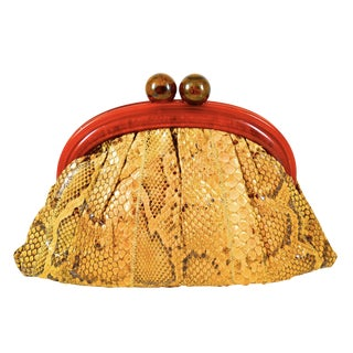 1970s Vintage Python Skin and Bakelite Clutch For Sale