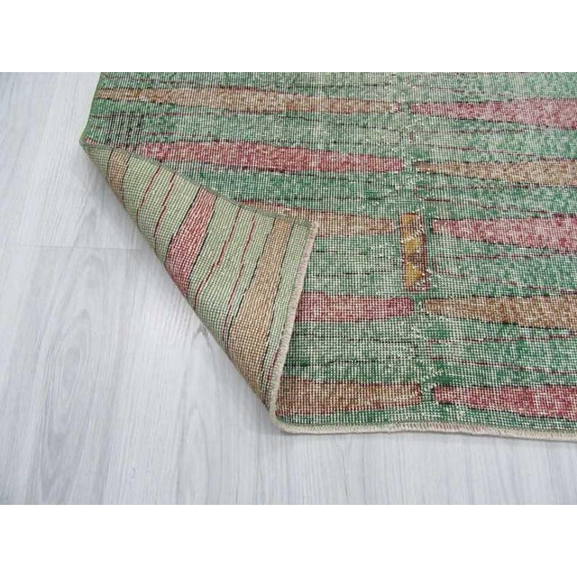 Distressed Vintage Turkish Art Deco Style Green Rug - 3′5″ × 6′5″ - Image 6 of 6