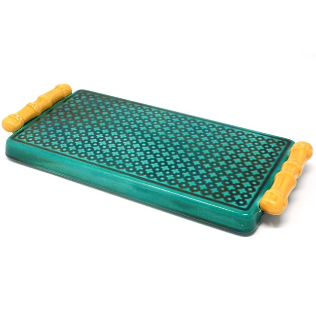 Green Vintage Ceramic Green Tray With Faux Bamboo Handles For Sale - Image 8 of 8