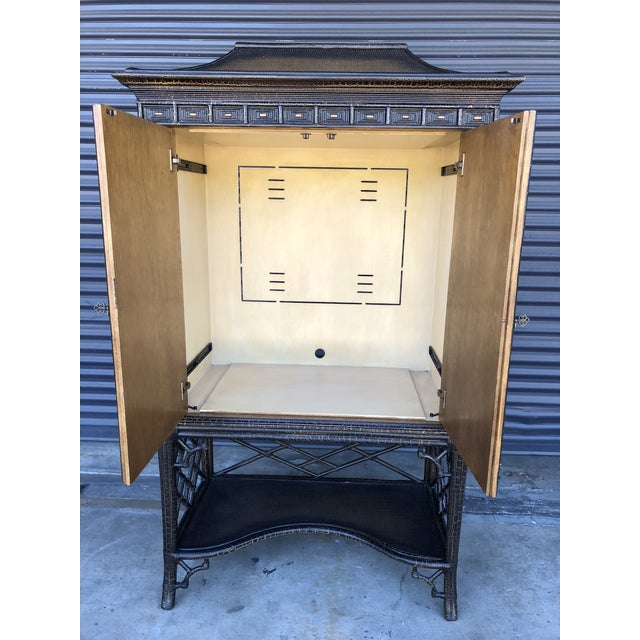 Tan Chinoiserie Rattan Pagoda Style Tv Cabinet Armoire For Sale - Image 8 of 13