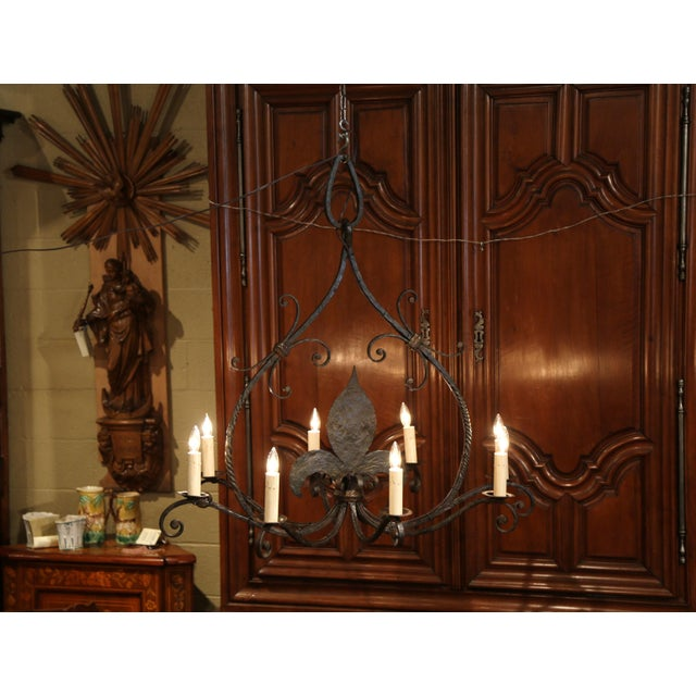 Mid 19th Century Large 19th Century French Wrought Iron Eight-Light Chandelier With Fleur-De-Lys For Sale - Image 5 of 10