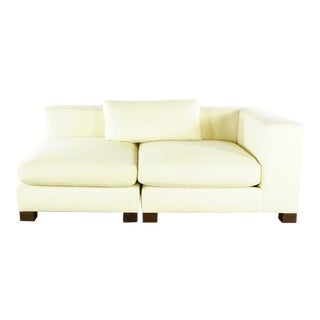 Mid Century Modern Style Chelsea Two Piece White Upholstered Sofa For Sale