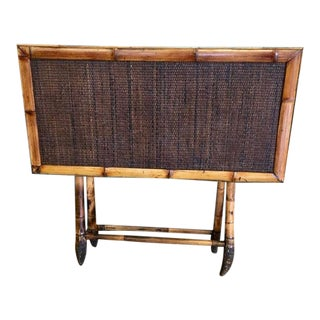 20th Century Boho Chic Burnt Bamboo Folding Table For Sale