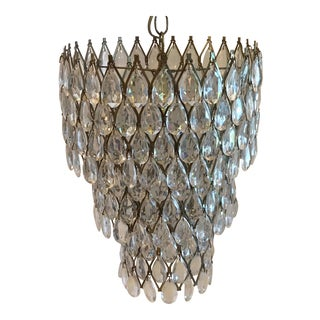Mid-Century Wire and Faux Crystal Chandelier For Sale