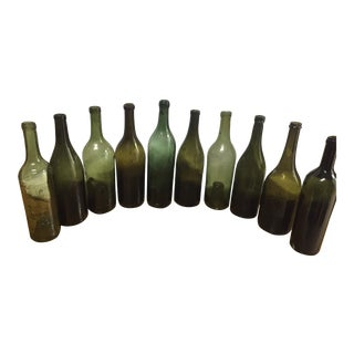 Vintage French Glass Wine & Champagne Bottles - Set of 3 For Sale