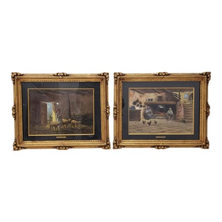 Early 20th Century Oil Paintings by Mario Fattori C.1920s - a Pair For Sale
