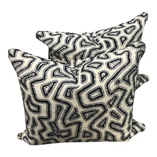 Black & Blue Modern Embroidered Pillows - A Pair For Sale