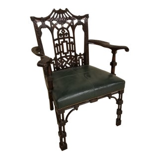 Chinese Chippendale Style Arm Chair For Sale