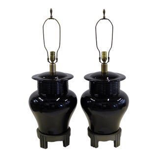 1980s Modern Chinese Deco Inspired Large Scale Ginger Jar Table Lamps - a Pair For Sale