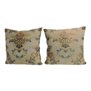 Pair of 19th Century French Silk Brocade Yellow and Blue Decorative Pillows For Sale