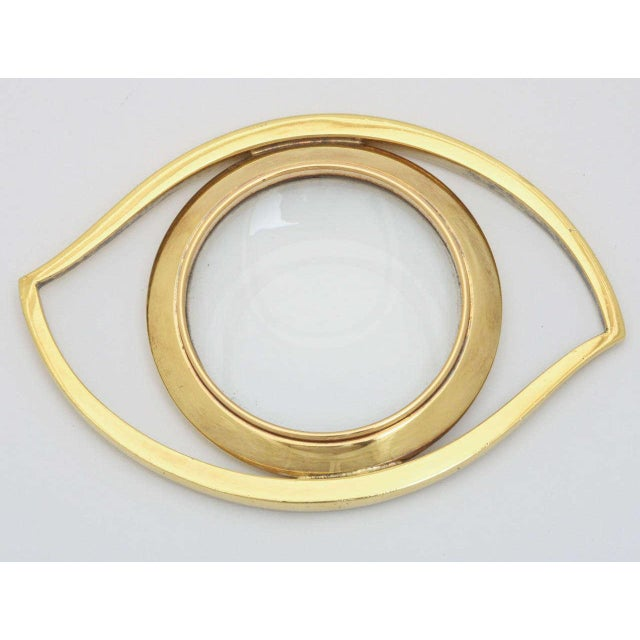 Luxe 'Evil Eye' Brass Magnifying Glass Paperweight - Image 2 of 3