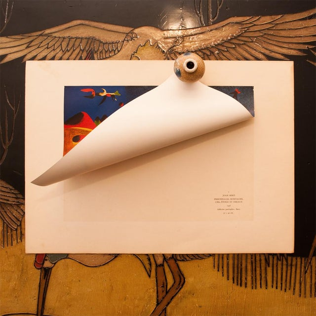 """Early 1940s Juan Miró, Original Period Lithograph """"Characters, Mountain, Sky, Star and Birds"""" For Sale - Image 4 of 8"""
