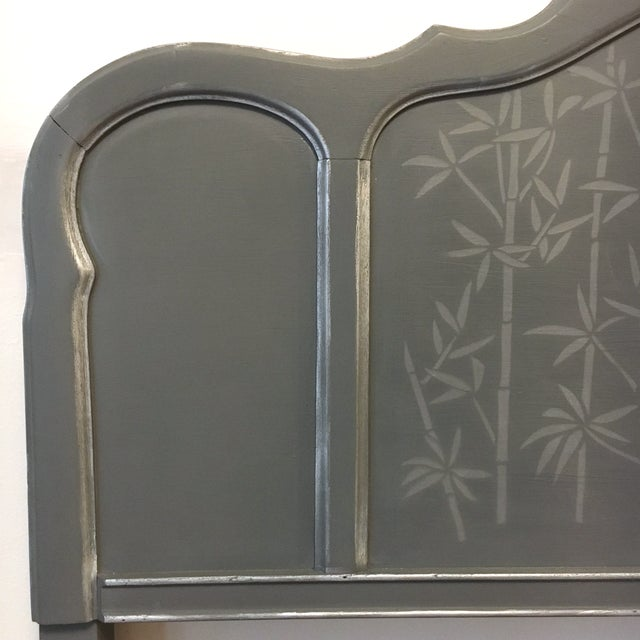 This lovely full-size headboard was hand painted in our studio. The gray was custom mixed for this piece as well as for a...