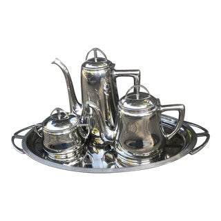 WMF Silver Plate Art Deco Coffee Service With Tray - 4 Piece Set For Sale