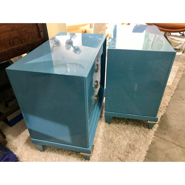 1970s 1970s Mid-Century Modern Mastercraft Sky Blue Chests - a Pair For Sale - Image 5 of 9