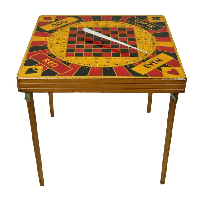 Vintage Mid Century Modern Monte Carlo 5 In 1 Folding Game Table