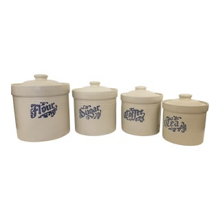 1960s Vintage Pfaltzgraff Yorktowne Stonewear Canisters - Set of 4 For Sale