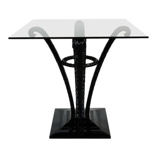 Elegant Art Deco Plume Form Table by Grosfeld House in Black Lacquer