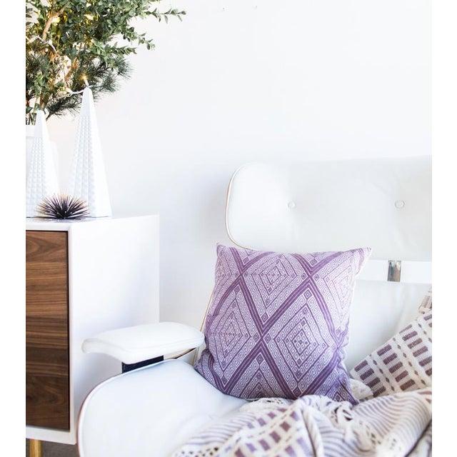 "Handwoven Mauve Diamond Pillow - 18"" × 18"" - Image 8 of 8"