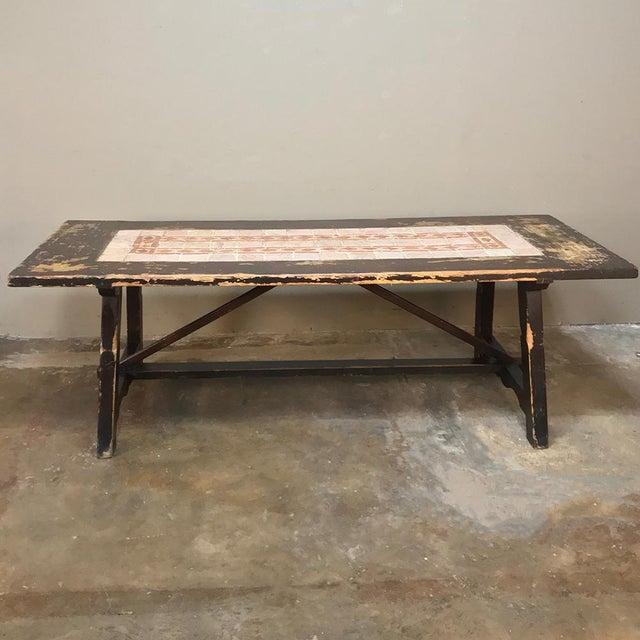Mediterranean 19th Century Spanish Table With Marble Tiles For Sale - Image 3 of 13