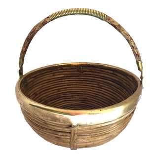 Italian Pencil Bamboo Round Basket With Brass Rim and Handle, Manner of Gabriella Crespi, C.1970 For Sale